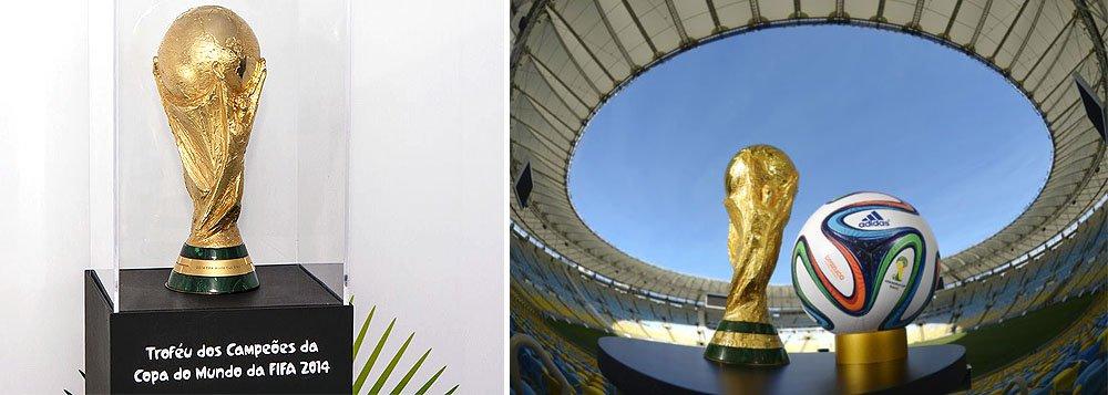 Taça passou por cerca de 80 países entre setembro do ano passado e abril deste ano e ficará exposta até o próximo dia 25 no Estádio Jornalista Mário Filho, o Maracanã, que será o palco da final do campeonato, no dia 13 de julho; troféu segue para as outras 26 capitais brasileiras