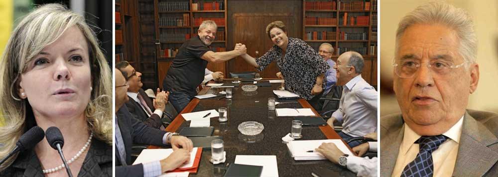 """Em artigo que responde críticas do tucano à foto da presidente Dilma Rousseff ao lado de Lula, senadora pede que ex-presidente """"volte à razão"""" e o acusa de renunciar """"à cadeira de referencial de equilíbrio e estabilidade do debate"""", que muitos lhe atribuem, """"para especular sobre uma imaginária (e inexistente) indiferença de Dilma em relação às manifestações""""; Gleisi Hoffmann, ex-ministra da Casa Civil, rebate um a um os ataques de Fernando Henrique Cardoso, do apagão à inflação; FHC havia classificado a foto de Dilma e Lula como """"chocante"""" e """"esdrúxula"""" e questionado o motivo de """"tanta alegria"""" do governo"""