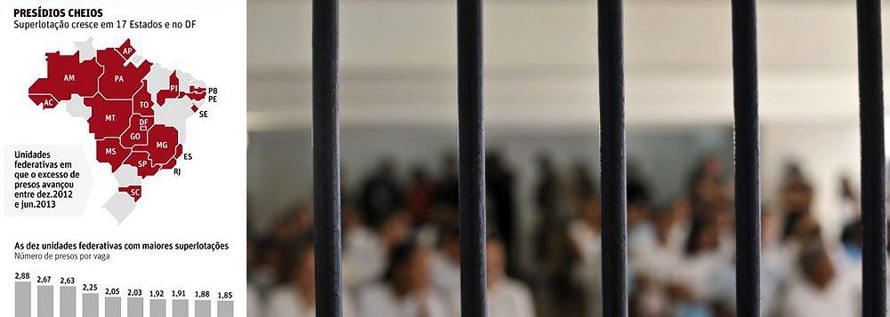 Levantamento do Ministério da Justiça coloca o Estado de Alagoas como o primeiro colocado em superlotação em presídios. Pernambuco, Amapá, Amazonas, Acre, Sergipe e São Paulo também aparecem nas primeiras colocações