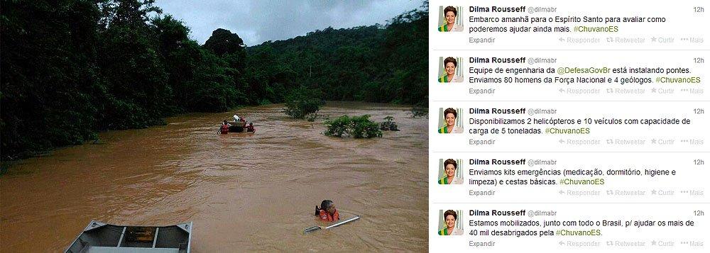 """""""Estamos mobilizados, junto com todo o Brasil, para ajudar os mais de 40 mil desabrigados pela chuva no Espírito Santo"""", disse a presidente, em sua conta no Twitter; governo já reforçou atendimento: """"Enviamos 80 homens da Força Nacional e quatro geólogos. Disponibilizamos dois helicópteros e 10 veículos com capacidade de carga de 5 toneladas. Enviamos kits emergências (medicação, dormitório, higiene e limpeza) e cestas básicas"""", afirmou Dilma"""