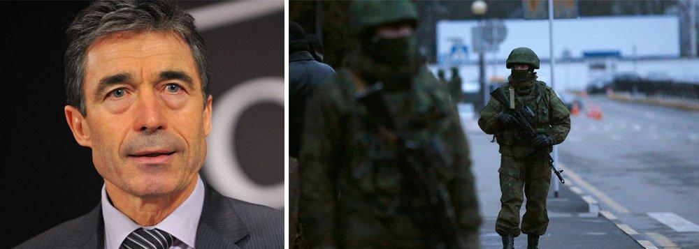 """Pedido foi feito depois de uma reunião de emergência dos embaixadores da Otan em Bruxelas;""""Nós pedimos que ambas as partes busquem imediatamente uma solução pacífica por meio do diálogo bilateral e mediação internacional"""", disse a Organização em comunicado; antes, o secretário-geral da Otan, Anders Fogh Rasmussen, pediu para a Rússia reduzir as tensões com a Ucrânia"""