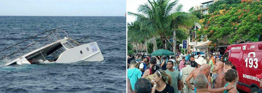 Barca tinha 35 turistas a bordo e todos foram resgatados, com coletes salva-vidas; uma mulher de 86 anos foi internada com hipotermia; catamarã que adernou pertence à empresa Tour Shop