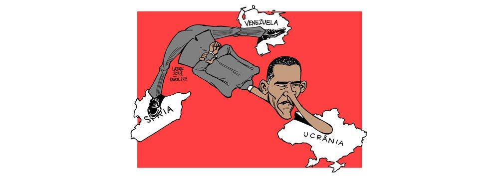 Na charge de Carlos Latuff, a interferência do presidente dos Estados Unidos em todas as situações de conflito fora de seu país, seja na Venezuela, na Síria ou na Ucrânia