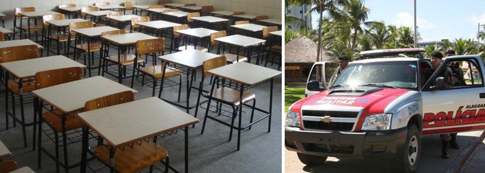 Quase 400 alunos não tiveram aulas nesta sexta-feira (16) na Escola Municipal Sérgio Luiz Pessoa Braga, na Chã da Jaqueira, em Maceió. A medida foi tomada depois que um homem invadiu a unidade de ensino no último dia 13 para tentar matar um rival. O clima de insegurança domina alunos e funcionários. PM promete reforçar o policiamento na região.