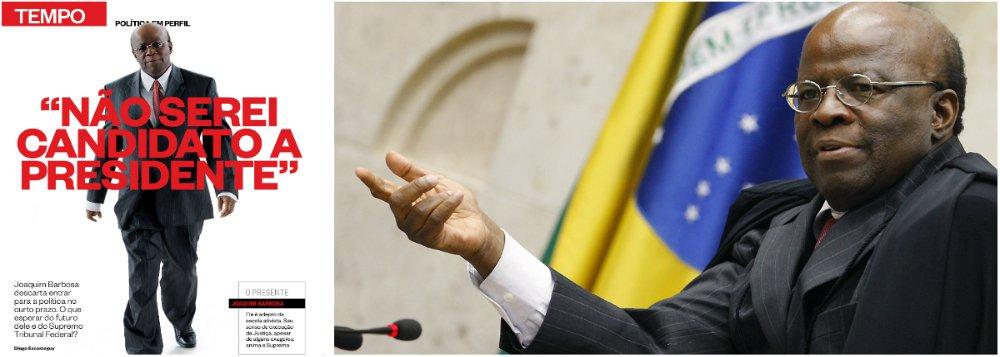 """Presidente do Supremo Tribunal Federal, Joaquim Barbosa, volta a negar projeto político rumo ao Palácio do Planalto, em entrevista à revista Época deste final de semana; """"Deixem falar... Deixa falar... Não serei candidato a presidente. Realmente eu não quero"""", afirmou; em seguida, deixou em aberto os planos para quando deixar o cargo de ministro no STF e negou com veemência fazer política como magistrado; """"Em primeiro lugar, acho que não seria apropriado eu, como presidente do Supremo, sair por aí fazendo negociações políticas. No dia em que sair daqui, estarei livre para fazer isso. Enquanto eu estiver aqui, não"""""""