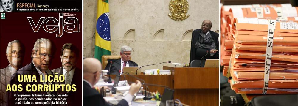 """Na capa, o sol nasce quadrado para José Genoino, José Dirceu e Delúbio Soares; revista retrata o chamado """"mensalão"""" como o maior escândalo de corrupção da história e, em seu editorial, clama que seja só o começo; """"o desfecho do escândalo do mensalão, com a ida para a prisão dos réus, não pode ser encarado como a vitória de um partido sobre outro ou da oposição sobre o governo"""", diz o texto; mas será que haverá o mesmo tipo de pressão para que outros escândalos, a começar pelo mensalão tucano, sejam também punidos?"""