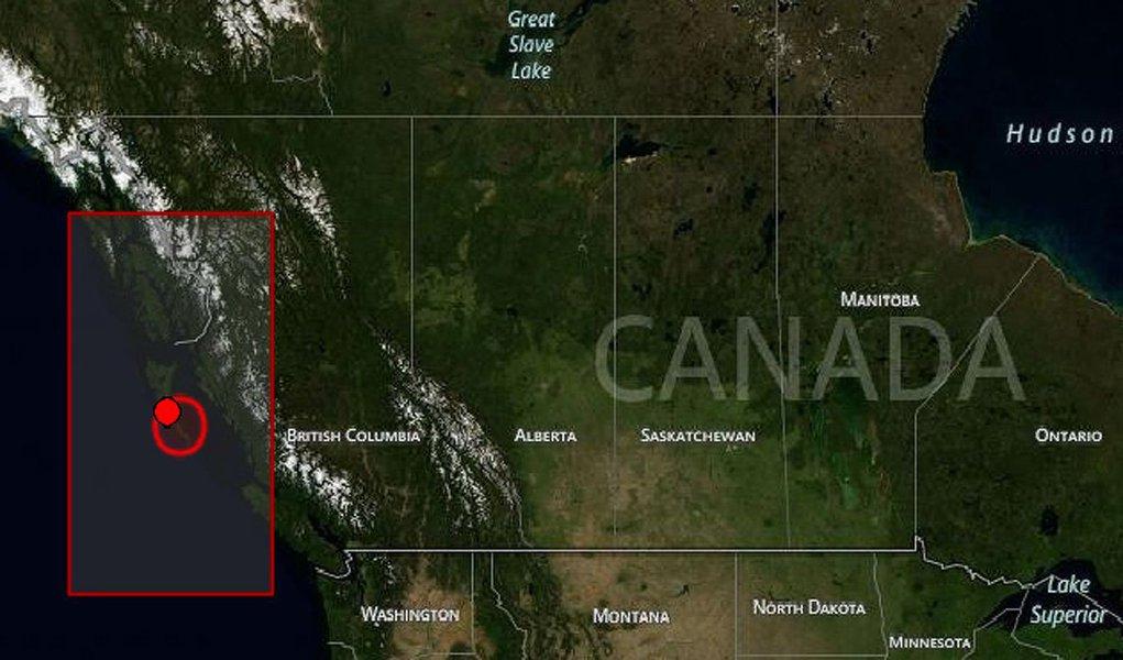 Um terremoto de magnitude 6,7 na escala Richter foi registrado, na madrugada, ao largo da ilha de Vancouver, na Região Oeste do Canadá, no Pacífico, informou o Serviço Geológico dos Estados Unidos