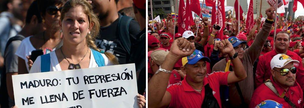 """Milhares de pessoas foram às ruas em diversas cidades venezuelanas em manifestações favoráveis e contrárias ao governo de Nicolás Maduro; no centro da capital, Caracas, mulheres chavistas fizeram marcha de apoio ao presidente e marcharam """"contra a violência""""; em Chacao, estado de Miranda, reduto opositor, manifestantes participaram de ato público pedindo liberdade para os que foram presos em protestos organizados pela oposição, como o dirigente do partido Vontade Popular, Leopoldo López"""