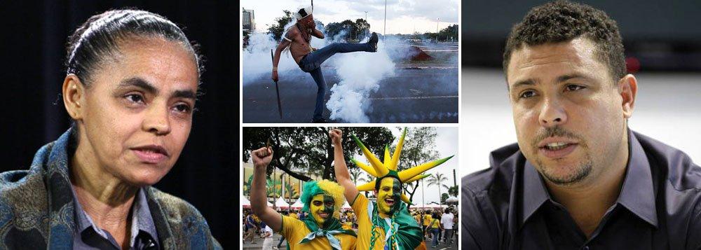 """Assim como Ronaldo, a ex-senadora, que será vice na chapa de Eduardo Campos (PSB) à presidência da República, Marina Silva também está envergonhada; """"quem cantava com Cazuza 'Brasil, mostra tua cara', agora quer escondê-la dos turistas, na Copa do Mundo""""; segundo ela, o sonho brasileiro era outro: que a estabilidade e o crescimento da economia gerassem cada vez mais bem-estar e inclusão social"""