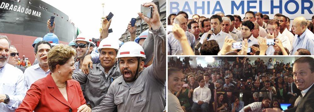"""Presidenciáveis apresentaram o que têm de melhor nesta segunda-feira 14; Dilma Rousseff mostrou o aguerrimento que ex-presidente Lula pediu a ela na defesa da Petrobras; """"Não vou medir esforços para defender a maior empresa do Brasil"""", disse; tucano Aécio Neves saboreou costura política bem sucedida em Salvador, com chapa que reúne DEM, PSDB e PMDB, que ele chamou de a """"maior construção da campanha até aqui""""; pelo PSB, Eduardo Campos superou as diferenças regionais com o Rede de Marina Silva e obteve ontem o sim da vice que escolheu; eleição toma forma com pré-candidatos mostrando mais claramente seus discursos"""