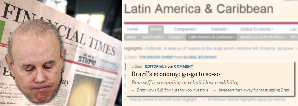 """Em editorial, jornal financeiro do Reino Unido insiste na troca do piloto da política econômica brasileira; """"Substituí-lo pode fazer maravilhas"""", escreve jornal;publicação já havia feito a mesma recomendação no ano passado, depois da revista The Economist; mas formulação continua a ter um problema na origem: o avião pertence ao Brasil; Guido Mantega é ministro da Fazenda do governo Dilma Rousseff, e não um funcionário inglês; melhor faz o FT se pajear direitinho o primeiro-ministro David Cameron em lugar de praticar o velho e carcomido imperialismo britânico em versão século 21"""