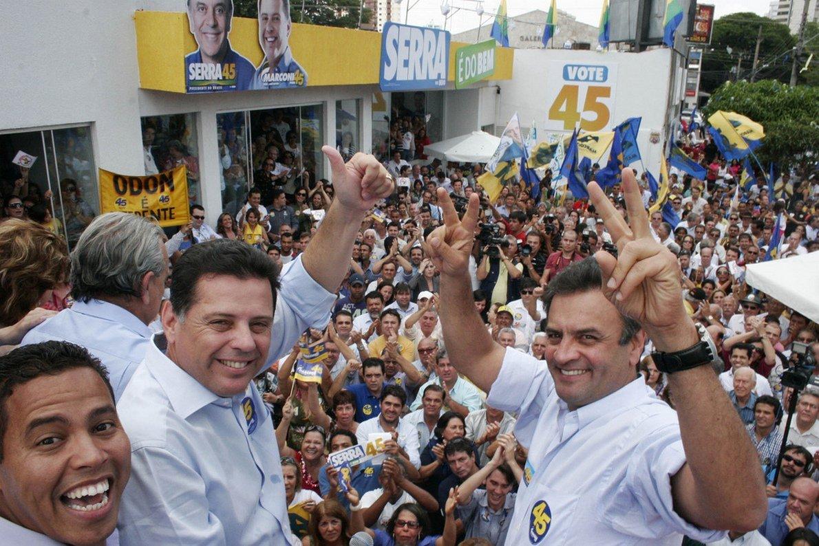 Inaugura��o Comit� Serra Presidente. A�cio Neves Senador eleito, Marconi Perillo, Fotos Wagnas Cabral