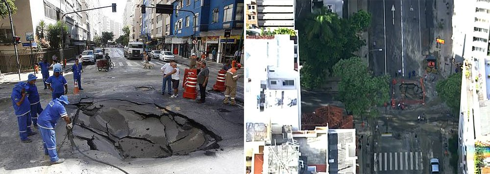 Segundo o Centro de Operações da Prefeitura do Rio, o cruzamento entre as ruas Barata Ribeiro e Miguel Lemos, em Copacabana, na Zona Sul da cidade, está interditado para uma obra emergencial da Cedae, em razão de um vazamento que provocou a abertura de uma cratera na esquina das ruas, e as duas vias estão fechadas para a obra
