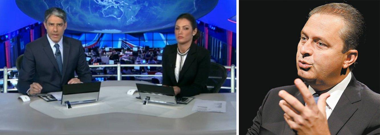 """O presidenciável Eduardo Campos, do PSB, foi o segundo a ser entrevistado pelo Jornal Nacional; ele bateu duro na economia e na presidente Dilma Rousseff; """"não perdemos de 7 a 1 só na Copa; estamos com 7% de inflação e 1% de crescimento""""; no depoimento a William Bonner e Patrícia Poeta, ele rebateu acusações de nepotismo, como na escolha de Ana Arraes, sua mãe, para o Tribunal de Contas da União; """"se a nomeação fosse minha, seria nepotismo; ela disputou uma eleição no parlamento e venceu""""; entrevista foi mais branda do que a de Aécio Neves"""