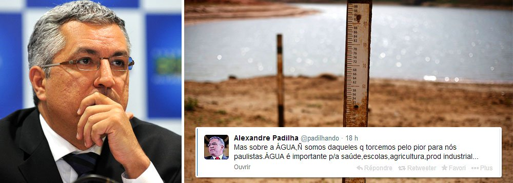 """Pelo Twitter, candidato petista ao governo de SP cutucou gestão de Geraldo Alckmin (PSBD) e prometeu detalhar em suas próximas viagens """"o que faltou nestes anos em SP"""" para que o Estado corresse o risco de racionamento de água: """"Na Caravana @Horizonte_SP temos discutido como o planejamento pode elevar produção de água"""""""