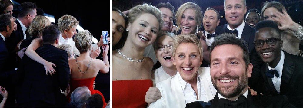 Autorretrato feito no domingo com a apresentadora da cerimônia do Oscar, que incluiu estrelas como Meryl Streep, Jennifer Lawrence e Bradley Cooper, rapidamente tornou-se a imagem mais compartilhada da história da rede social