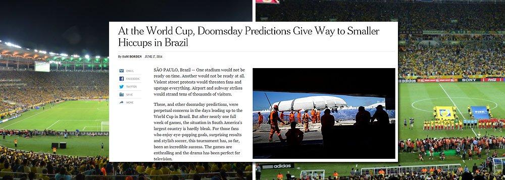 """Gigante nova-iorquino 'New York Times', considerado o jornal mais influente do mundo, admite sucesso da Copa do Mundo no Brasil com o título: """"Previsão de dia do juízo final dá lugar a soluços menores"""": 'Estádios atrasados, obras que não estariam prontas, segurança, transporte não aguentaria... Estas eram preocupações constantes nos dias que antecederam a Copa no Brasil. Mas depois de uma semana do Mundial, a situação no maior país da América Latina é bem mais tranquila. Os jogos são empolgantes e o drama é perfeito para a televisão', diz o texto"""