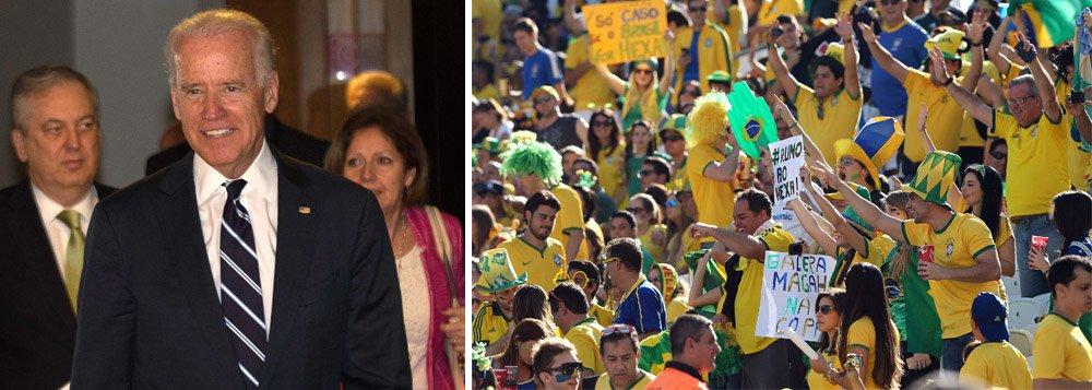 """Vice-presidente dos EUA, Joe Biden, elogiou a organização da Copa no Brasil e disse que o país correspondeu às suas expectativas como sede do Mundial; """"O Brasil fez um trabalho incrível. Queríamos mostrar o nosso apoio ao país e ao povo brasileiro como sede dos jogos"""", disse; Biden acompanhou ontem a vitória da seleção americana contra Gana em Natal, acompanhado de uma neta e um sobrinho"""