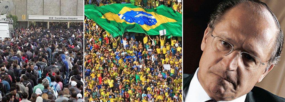 """""""Ninguém vai trabalhar. Se não chegarmos a um acordo, na quinta-feira não vai ter metrô nem para Itaquera nem para lugar nenhum"""", disse o secretário do Sindicato dos Metroviários de São Paulo, Alex Fernandes; sem metrô, torcedores dificilmente terão acesso ao estádio de abertura da Copa do Mundo, onde se enfrentam Brasil e Croácia; governador Geraldo Alckmin mandou endurecer com grevistas, que podem ser demitidos depois que a paralisação foi considerada abusiva pelo TST; """"o que está em jogo é o direito ao trabalho de 5 milhões de paulistanos que dependem do metrô"""", disse ele; """"O metroviário que não for trabalhar incorre na possibilidade de demissão por justa causa"""""""