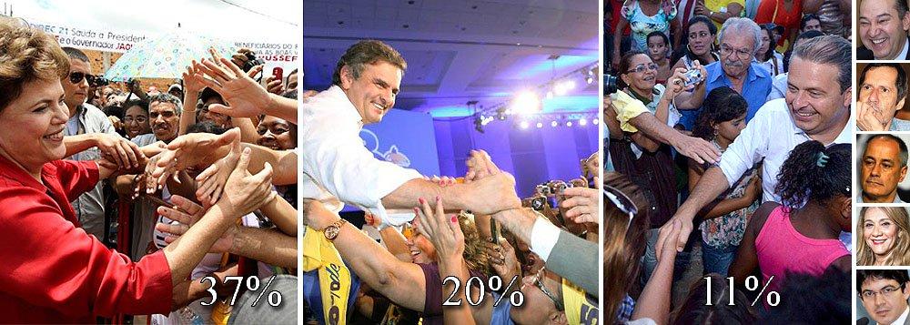 Ele seria disputado entre a presidente Dilma Rousseff, do PT, que recuou de 38% para 37%, e o senador Aécio Neves (PSDB-MG), que foi de 16% a 20%; Eduardo Campos, do PSB, subiu de 10% a 11%, enquanto Pastor Everaldo (PSC) teve 3% e Eduardo Jorge (PV), José Maria (PSTU), Denise Abreu (PTN) e Randolfe Rodrigues (Psol) conseguiram, cada um, 1%; assim, os votos da oposição somariam 38% contra 37% do governo; resultado torna disputa mais emocionante