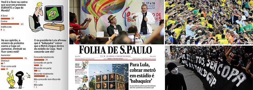 Instituto foi a campo para medir o pulso popular sobre a declaração do ex-presidente Lula a respeito da construção de estações de metrô dentro dos estádios, distorcida pela Folha no último de semana; o resultado surpreendeu e mostrou que a maioria da população está com Lula, e não com a Folha; revelou ainda que os brasileiros são maciçamente contra a realização de protestos durante a Copa do Mundo de 2014