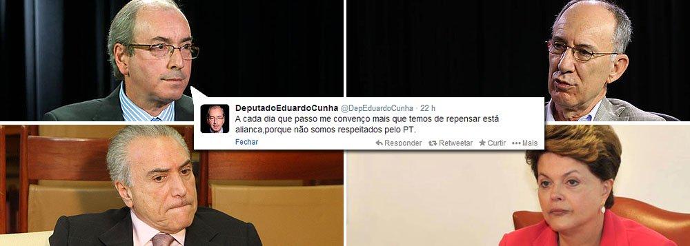 """Ganham novos capítulos a crise na aliança entre PMDB e PT; no carnaval, houve troca de críticas entre peemedebistas e o presidente do Partido dos Trabalhadores, Rui Falcão, que foi até tachado de """"vagabundo""""; líder do PMDB na Câmara, Eduardo Cunha (RJ) ressaltou ontem necessidade de """"repensar esta aliança, porque não somos respeitados pelo PT""""; e convoca bancada para a próxima terça-feira 11; hoje, diminuiu hipótese de rompimento: """"Quando falei em repensar, não falei ainda em romper, e sim em rediscutir""""; presidente Dilma Rousseff recebe Lula hoje em Brasília; um dos temas: a crise com o PMDB"""