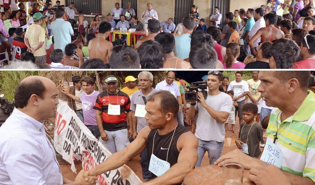 """Na reunião com os indígenas e manifestantes, Sandoval Cardoso (SDD) explicou que cabe ao Estado pavimentar os dois trechos da TO-126 que ficam fora da reserva indígena Apinajé e totalizam 13,5 km; """"O restante, de aproximadamente 28 km, depende de licenças de órgãos federais como Ibama e Funai. Vamos todos juntos a Brasília onde está a solução do problema"""", afirmou; com a garantia, os indígenas desistiram de derrubar a torre de transmissão de energia elétrica"""