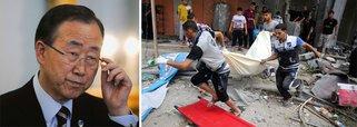 """Secretário-geral das Nações Unidas diz que o conflito no Médio Oriente """"não deverá constituir um pretexto para a discriminação que pode afetar a paz social em qualquer lugar do mundo"""". Ele defendeu um cessar-fogo imediato e uma solução negociada para o problema"""
