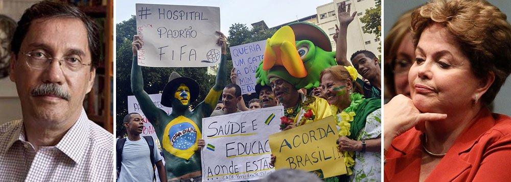 """Segundo o colunista Merval Pereira, ao dizer que os aeroportos são """"padrão Brasil, não padrão Fifa"""", a presidente chancelou os produtos brasileiros como sinônimo de má qualidade; será que foi realmente isso que ela disse?"""