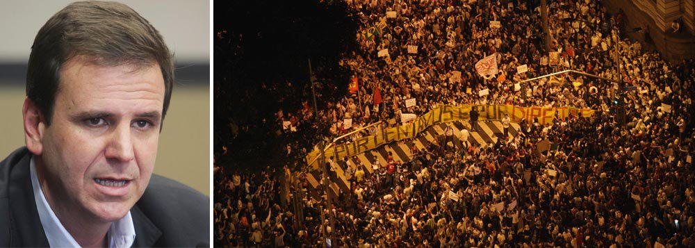 """Prefeito do Rio, Eduardo Paes, vê com naturalidade a ocorrência dos protestos e diz que eles não são """"o fim do mundo"""". """"É coisa de democracia consolidada. Muito a abordagem, as pessoas estão mais empoderadas"""", afirma; para ele, a queda na sua popularidade é injustificada, assim como a do governador Sérgio Cabral; """"Que grande lambança eu fiz de um ano para cá que justificasse essa avaliação? Há erros, mas não vejo uma grande lambança. Sobre Cabral, não se justifica o grau de ataque, e eventual impopularidade, a um governador que fez o que ele fez"""", diz; Paes promete reajustar a tarifa do ônibus do Rio já em janeiro de 2014"""