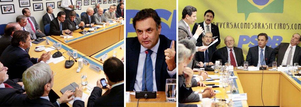 """PSDB lança pré-candidatura de Aécio Neves à Presidência da República e anuncia para 14 de junho convenção nacional do partido que irá oficializar o nome do senador para concorrer ao Planalto; """"Houve uma indicação do meu nome. Essa é e deverá ser sempre uma construção coletiva em favor do Brasil e do partido e não me faltará determinação e coragem para apresentar uma agenda nova aos brasileiros, em que ética e coerência podem caminhar junto"""", afirmou o parlamentar; Executiva Nacional aprovou, durante o evento em Brasília, carta intitulada """"Um novo tempo para o Brasil. Um novo Brasil para os brasileiros"""""""