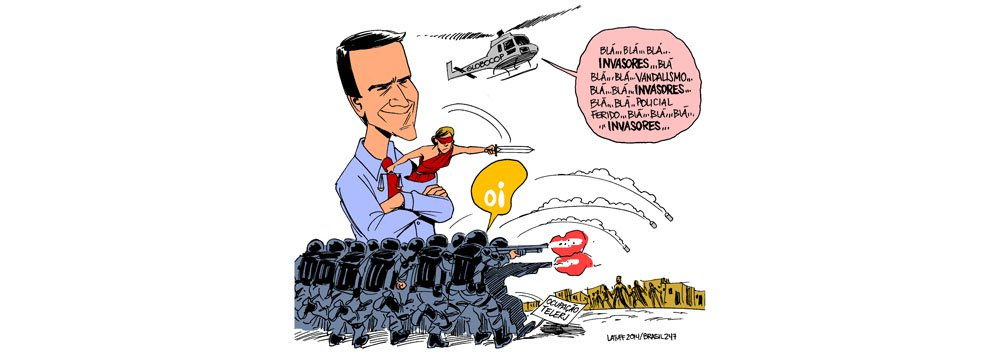 Charge do cartunista Carlos Latuff retrata a desocupação violentade um prédio da Oifeita nesta sexta-feira por policiais militares, queusam bombas de efeito moral e gás lacrimogênio contra cerca de 5 mil moradores que estão no local; um jornalista foi preso, outros agredidos