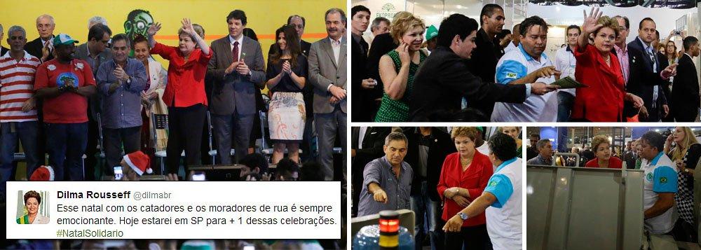 """Presidente Dilma Rousseff, que celebrou o Natal hoje com catadores e moradores de rua no Centro de Exposições do Anhembi, em São Paulo, ressaltou que """"é impressionante"""" o que a categoria conquistou até aqui; """"Hoje, nós reconhecemos as demandas de todas as parcelas da população"""", disse; acompanhada de ministros, senadores e deputados, Dilma recebeu reivindicações da classe, assistiu desfile de moda reciclada e assinou decreto que institui o Programa Nacional de Apoio ao Associativismo e Cooperativismo Social; tradição da presença do presidente da República na cerimônia foi iniciada pelo ex-presidente Lula em seu primeiro ano de governo"""