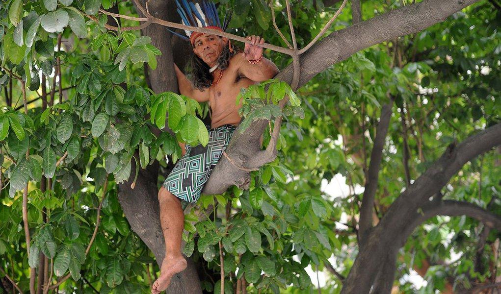 José Urutal, da tribo Guajajara, continua, nesta manhã, em cima de uma árvore dentro do terreno do antigo Museu do Índio, próximo ao Estádio do Maracanã; o indígena, de 54 anos, já está na copa da árvore há mais de 24 horas; ele faz parte do grupo de manifestantes que havia ocupado o prédio e foi retirado ontem por policiais militares do Batalhão de Choque