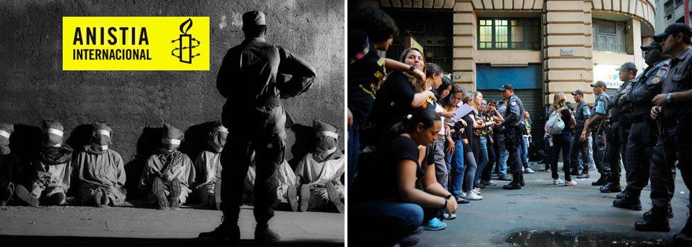"""Movimento reuniu mais de 86 mil assinaturas, em cerca de 100 países, com a campanha """"Brasil, chega de bola fora!"""" e vai entregá-las ao Palácio do Planalto e ao Congresso Nacional; segundo a Anistia, preocupação é que a violência contra os manifestantes registrada nos protestos do ano passado voltem a ocorrer durante o Mundial"""