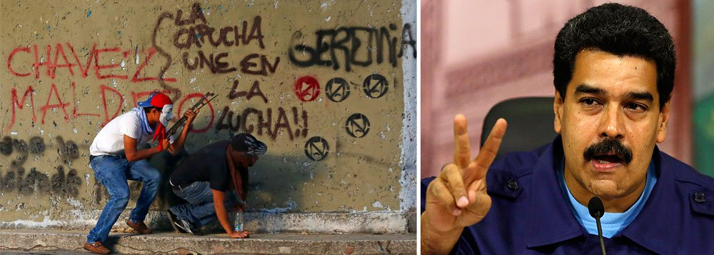 """Presidente da Venezuela diz que homem detido em bairro de classe média alta em Maracay, Estado de Aragua, possuía """"11 telefones internacionais e planos violentos""""; e que as autoridades estão atrás de """"pistas sobre vários"""" outros terroristas: """"Estava preparando a colocação de carros-bomba para encher nosso país de violência"""", disse"""