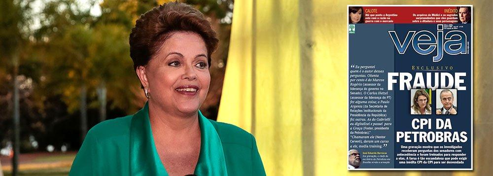 """Numa rápida entrevista a jornalistas neste domingo, a presidente Dilma Rousseff condenou a criação de crises artificiais sobre a Petrobras, como fez a revista Veja, há uma semana, com a capa sobre """"farsa"""" na CPI da Petrobras; """"Se tem uma coisa que a gente tem de preservar, porque tem sentido de Estado e sentido de nação é não misturar eleição com a maior empresa de petróleo do País. Isso não é correto, não mostra nenhuma maturidade"""", disse ela; denúncia da semana passada já morre no vazio de sua própria banalidade"""