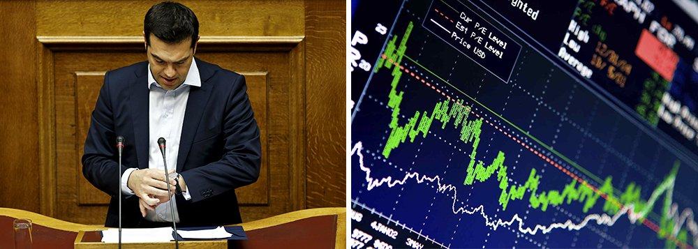 Os índices se afastaram das máximas da sessão após o primeiro-ministro da Grécia, Aleixs Tsipras, reiterar seu pedido para que a população grega rejeite o resgate internacional no referendo do domingo; no Brasil, Petrobras cai forte e Ibovespa vira para queda