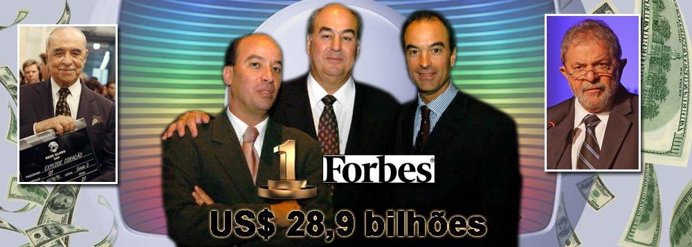 Herdeiros do empresário Roberto Marinho disparam no primeiro lugar do ranking da revista Forbes de famílias mais ricas do Brasil; irmãos fundadores do banco Safra mais a viúva Lily e prole dos Ermírio de Moraes, do Grupo Votorantim, ficam na poeira; contra os R$ 28, 1 bilhões acumulados por Roberto Irineu, João Roberto e José Roberto, eles têm, respectivamente, US$ 20,1 bilhões e R$ 15,4 bilhões; negócio de telecomunicações, cuja regulamentação é de 1962, como lembrou o ex-presidente Lula, tem concentração questionada em todo o mundo; debate sobre necessidade de Lei de Mídia tem fôlego renovado; lista completa