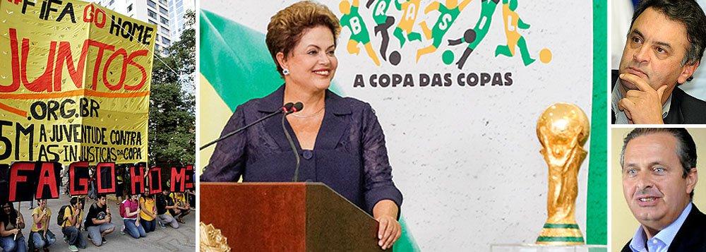 Mesmo com o aumento de 55% para 72% no percentual de insatisfeitos com a economia e a situação do País às vésperas da Copa do Mundo, maioria tem opinião favorável sobre a presidente Dilma Rousseff; pesquisa do Pew Research Center, de Washington, mostra que 51% disseram ter boa impressão de Dilma; índice é a soma dos resultados positivos dos dois principais presidenciáveis da oposição; Aécio Neves (PSDB) recebe aprovação de 27%, enquanto Eduardo Campos (PSB) ficou com 24%; osso duro