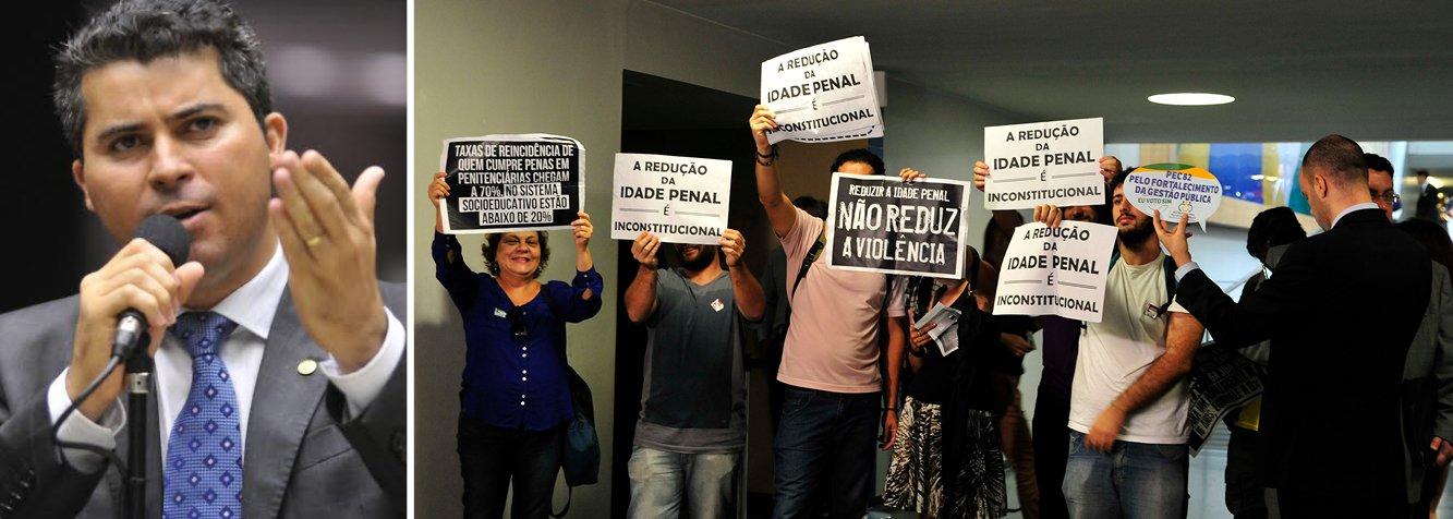 Comissão de Constituição, Justiça e Cidadania (CCJ) aprovou nesta terça-feira 31 o voto em separado do deputado Marcos Rogério (PDT-RO), favorável à admissibilidade da PEC 171/93, que reduz a maioridade penal de 18 para 16 anos; foram 42 votos a favor e 17 contra - resultado que gerou protesto de manifestantes presentes na reunião