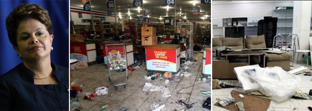 A presidente Dilma Rousseff assinou nesta quarta-feira o decreto de Garantia da Lei e da Ordem (GLO) autorizando o emprego das Forças Armadas na segurança pública da Bahia; as operações de GLO conferem aos militares condições de patrulha, vistoria e prisão em flagrante; em menos de 24 horas de greve da Polícia Militar, bandidos já aterrorizam a população; os ônibus coletivos foram recolhidos mais cedo ontem, saíram mais tarde das garagens hoje e serão recolhidos às 18h; lojas foram saqueadas durante a madrugada