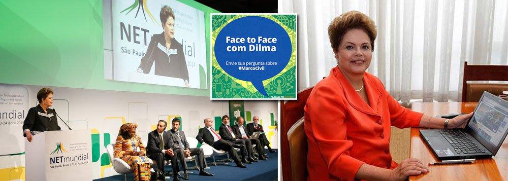"""Presidente Dilma Rousseff falou ao vivo, pela página do Palácio do Planalto no Facebook, sobre o impacto da aprovação do novo marco civil na internet; """"Há uma opinião unânime entre especialistas e usuários da internet em todo o mundo que a aprovação do #MarcoCivil pelo Congresso brasileiro foi um avanço histórico"""", escreveu a presidente, respondendo a perguntas de internautas; segundo ela, o marco civil, """"sem sombra de dúvida, é a legislação mais avançada no mundo"""" na área """"enos coloca na vanguarda na proteção dos direitos dos usuários da internet e na garantia de que o usuário brasileiro tem e terá o direito de acessar, a partir de agora, qualquer conteúdo""""; Dilma lembra que a lei, sancionada ontem, """"assegura a liberdade de expressão, a privacidade e o respeito aos direitos humanos"""""""
