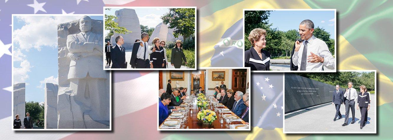 """A presidente Dilma Rousseff disse que quer o Brasil """"com economia mais aberta e competitiva"""" e que a burocracia brasileira é """"infernal"""" durante uma reunião fechada com banqueiros e investidores em Nova York, nesta segunda (29); ela também defendeu o ajuste fiscal como """"fundamental"""" e explicou o seu plano de concessões; após a reunião, Dilma visitou o memorial a Martin Luther King, acompanhada do presidente dos EUA, Barack Obama; segundo nota da Casa Branca, a visita ao memorial proporcionou aos dois líderes uma """"oportunidade para refletirem juntos sobre a luta de Luther King em toda a sua vida em prol da igualdade e da justiça e contra o racismo e a intolerância"""" e ressalta os """"vários valores compartilhados e os laços fortes que existem entre os povos americano e brasileiro"""""""