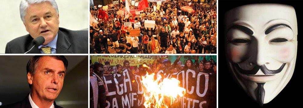 Protestos convocados para o feriado da Independência, que já geram a expectativa de quebra-quebra, estão sendo articulados por grupos políticos que alimentam o radicalismo; entre eles, uma ONG ligada à família do deputado Jair Bolsonaro; outro organizador já foi funcionário fantasma do presidente da Assembleia Legislativa do Paraná, Valdir Rossoni (PSDB-PR); em nota, grupo Anonymous ressalta caráter apartidário do protesto que está convocando 4,6 milhões de brasileiros em 147 cidades no País; será?