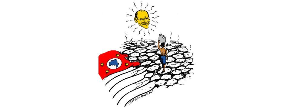 Na arte de Latuff, o fantasma da falta d'água no estado mais próspero do País