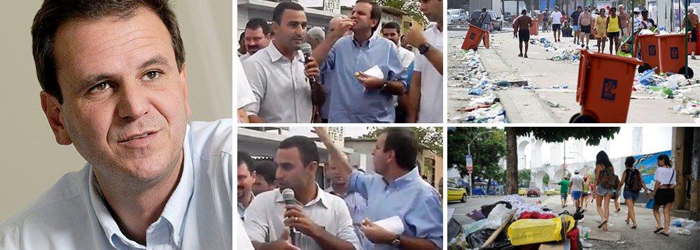 """Prefeito do Rio comenta vídeo que o flagra jogando para o alto o que parece ser uma fruta; """"Pedi que a Comlurb me multasse, já recebi a multa e já paguei R$ 157. Qualquer cidadão dessa cidade que jogar lixo no chão vai ser multado, inclusive o prefeito"""", disse Eduardo Paes (PMDB); ele lembra, no entanto, que o vídeo """"não deixa claro"""" que ele joga lixo no chão, e garante que não suja a rua; """"Eu não jogo lixo no chão, primeiro por educação e segundo porque eu sou o prefeito e tenho que ser o exemplo. Então na dúvida, eu peço desculpas"""""""