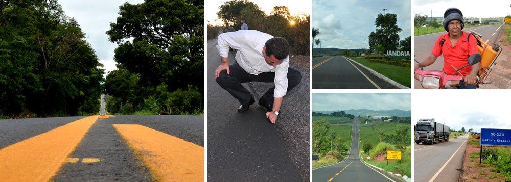 Governador cumpre extensa agenda de inaugurações nesta sexta-feira (7) em Nazário, Firminópolis, São João da Paraúna, Paraúna, Jandaia, Indiara, Cezarina e Palmeiras de Goiás; serão entregues trechos de rodovias recuperadas através do programa Rodovida Reconstrução; giro começou por Nazário, com inauguração da reforma da GO-064, ligando a cidade até Palmeiras; plano de recuperação de estradas do governo goiano já executou serviços em 3.472 quilômetros de rodovias, de um total de 6.500 quilômetros distribuídos em três etapas