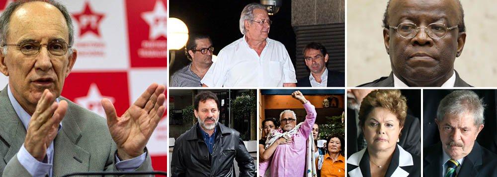 Como um partido político deve se comportar diante do que já se reconhece como prisões ilegais e humilhantes de três de suas figuras históricas?; é o que a direção do PT vai responder hoje, durante reunião do Diretório Nacional; será a primeira do reeleito presidente Rui Falcão; vitorioso na semana passada com 70% dos votos diretos dos militantes, ele vai mediar o tamanho da solidariedade que o partido emprestará aos seus ex-presidentes José Dirceu e José Genoíno, e ao ex-tesoureiro Delúbio Soares; desagravo deve incluir crítica forte a presidente do STF, Joaquim Barbosa, que transformou regimes semiabertos em prisões fechadas; mas haverá cobrança sobre Lula e a presidente Dilma?; partido pode ir às ruas mostrar indignação?