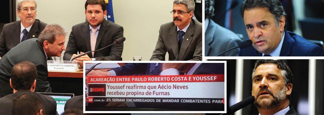 """O doleiro Alberto Youssef confirmou, nesta terça (25), durante depoimento na CPI da Petrobras, que o senador Aécio Neves (PSDB) recebeu dinheiro de corrupção envolvendo Furnas; """"Eu confirmo por conta do que eu escutava do deputado José Janene, que era meu compadre e eu era operador dele"""", disse; o deputado federal Paulo Pimenta (PT) defendeu que Aécio seja investigado por ter sido citado por Youssef; Pimenta ironizou a atuação do PSDB e do DEM na CPI; ele disse que a atuação da oposição é para que só """"meia corrupção"""" seja investigada; em nota, o PSDB diz que acusações contra Aécio são """"improcedentes""""; imagem de chamada da Globo News noticiando o fato viralizou nas redes sociais"""